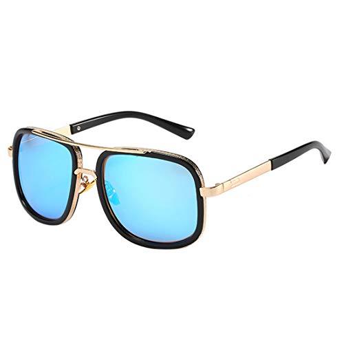TAAMBAB Gafas de sol cuadradas de moda con doble puente, gafas de sol unisex Vintage Pilot Caravan para hombres mujeres