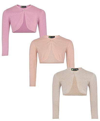 LOTMART Ragazze Maniche Lunghe Bolero Coprispalle Fascio (Confezione di 3) - Rosa, Oro e Beige, 3-4 Anni