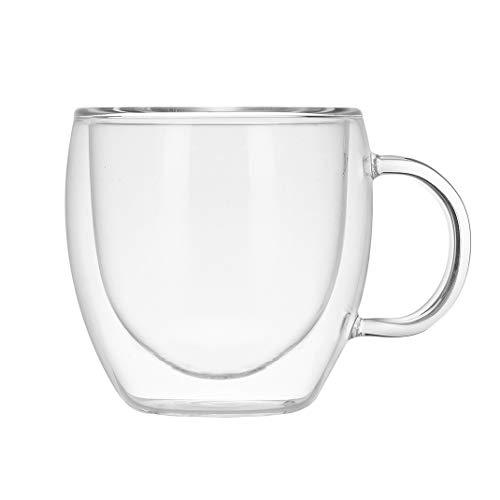 AOOPOO Taza de Cafe Espresso de Doble Pared con Asa, Transparente Taza de Café Cristal Vaso Taza de Vidrio de Doble Pared para Té Café, Resistentes al Calor, (350ml)