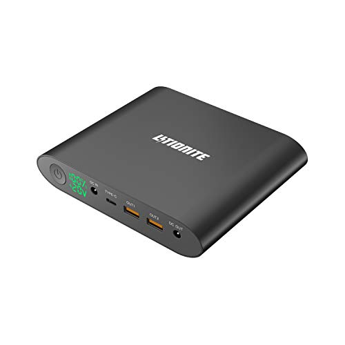 Litionite Tanker Mini 90W / 25000mAh Power Bank/Batteria Esterna in Alluminio - Display LED - 2x USB ricarica rapida - 1x Type C - 1x DC - Alimentatore per Computer Portatile/Notebook/Cellulare/Tablet