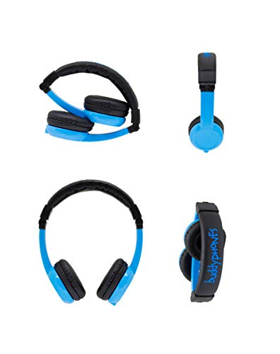 Explore Foldable Volume Limiting Kids Headphones | Built in Headphone Splitter and In Line Mic | For Tablets and Computers | Blue