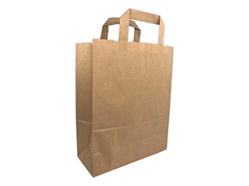 50 bolsas de papel kraft asas planas 6 litros de 22 cm x 28 x 10 cm y fuelles sólidos elegantes y productos reforzados Tienda Tienda de SAC