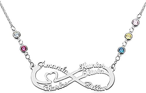Collar de plata de ley 925 para mujer Lakabara cinco nombres con piedra natal simulada -5 collares familiares Plata