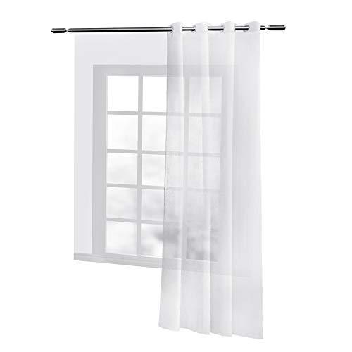 WOLTU® VH5862ws, Gardinen transparent mit Ösen Leinen Optik, Ösenschal Vorhang Stores Voile Fensterschal Dekoschal für Wohnzimmer Kinderzimmer Schlafzimmer, 140x225 cm, Weiß, (1 Stück)