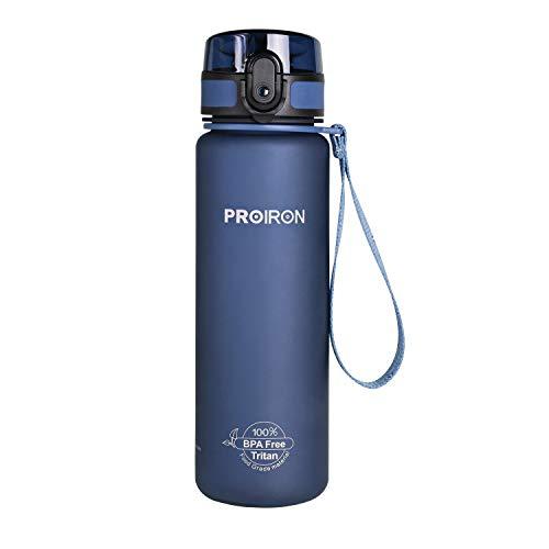 PROIRON Botella Agua Deporte Tritan Sin BPA Botella Reutilizable para Senderismo al Aire Libre, Viajes de Campamento 500ml