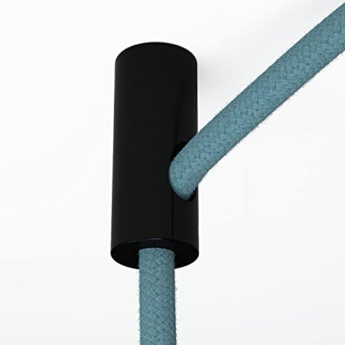 creative cables Descentralizador, Gancho de Techo para Cable eléctrico Textil con Tope - Negr
