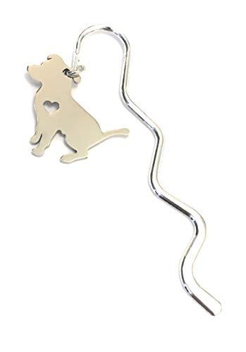 FizzyButton Gifts - Mini segnalibro a forma di cane Pitbull in acciaio INOX, in confezione regalo