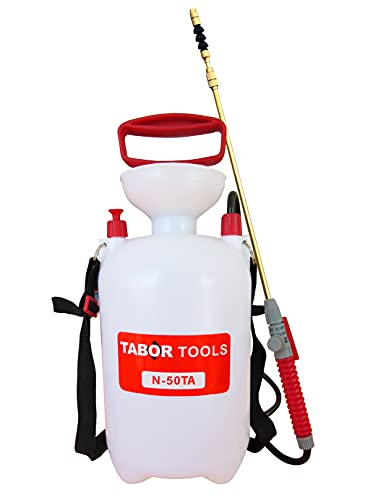 TABOR TOOLS 1.3 Gallon Lawn and Garden Pump Pressure with Pressure Relief Valve, Adjustable Shoulder Strap, Telescopic Adjustable Wand and Extra Set of Seals. N50TA.