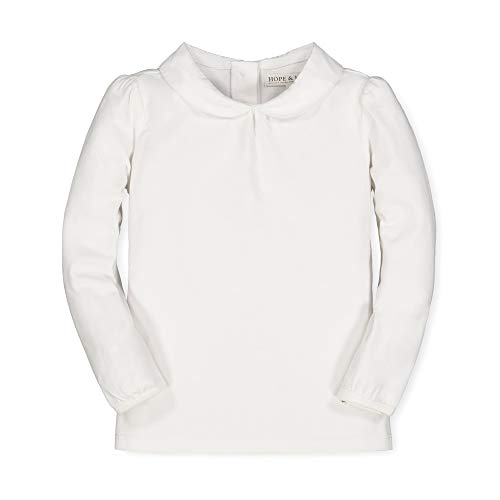Hope & Henry Girls' Long Sleeve Knit Top with Woven Peter Pan Collar