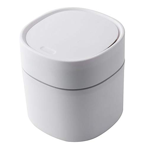 JIEHED Mini Trash Can, Desktop Trash Bin with Lid Small Tiny Countertop Garbage Bin for Office Home, Coffee Table Kitchen Small Garbage Can Plastic Trash Can Shake Cover Bucket Small Paper Basket