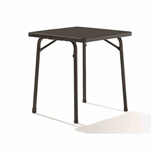 Sieger 211/G Garten-Klapptisch mit mecalit-Pro-Platte 70 x 70 cm, Stahlrohrgestell eisengrau, Tischplatte Schieferdekor anthrazit