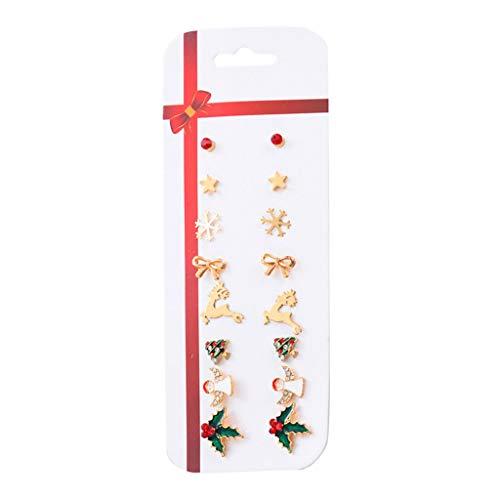 jingmeizi Christmas Stud Earring Set X-Mas Christmas Tree Snowflake Elk Earrings Kit Holiday Festive Ornament Jewelry Gift Women