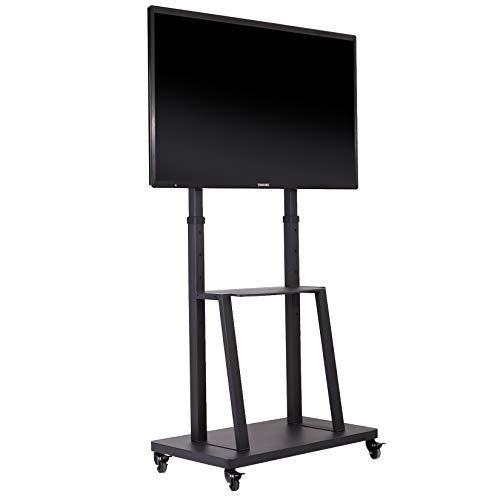 unho Soporte TV Ruedas, Soporte TV Móvil de Suelo para 32-80 Pulgadas LED LCD Plasma, Carro TV con 2 Estantes, Altura Ajustable Carga Máx 65kg VESA 600x400