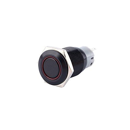 Qiilu Coche Pulsador 12V 3A 16mm Interruptor de palanca LED de encendido/apagado Impermeable
