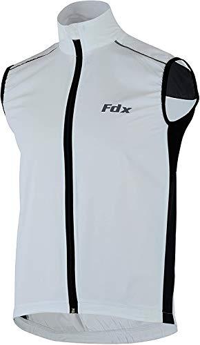 FDX, gilet da ciclismo da uomo, impermeabile, antivento, pieghevole, traspirante White/Black Small