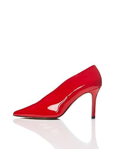 find. Pumps Damen mit hohem Absatz, keilförmigem Ausschnitt und spitzer Vorderkappe, Rot (Red), 40 EU