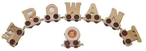 Buchstabenzug Namens-Set 5 Buchstaben Namen (kostenfreie Loc, Waggon & Fotozug) | Fun World Toys® Buchstaben Zug Holz Name
