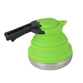 Kitchnexus Bouilloire Pliable en Silicone 1,5 l pour Le thé, Le café, Le Camping, Les Voyages en Plein air, sans BPA, Vert.