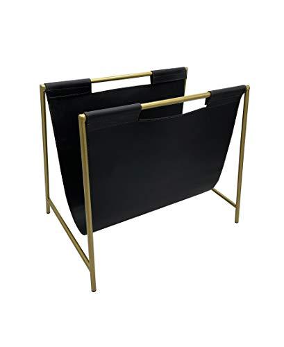 Becki Owens Magazine Holder - Black Leather and Gold Metal Design - File Organizer Rack for Desktop - Free Standing Floor Storage for Living Room, Office, Bathroom, Doctor's Office