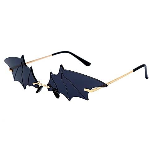 FACHA Gafas de sol unisex de murciélago retro sin marco, espejo para fiestas de la calle (color: negro, tamaño: M)