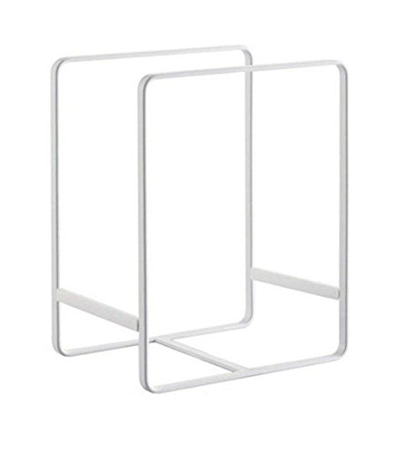 Metal Plate Dish Organizer Rack Stand for Kitchen Cabinet, Counter and Cupboard (Large, White)