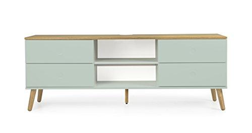 tenzo 1664–676 DOT Designer Banc TV 4 tiroirs, Sauge/Chêne, 60 x 162 x 43 cm (HxLxP)