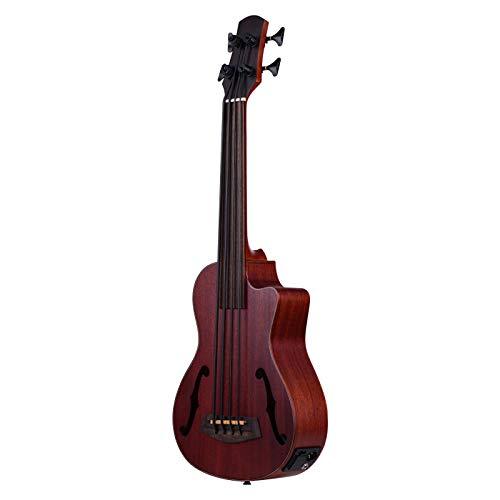KEPOHK Ukelele bajo acústico eléctrico de madera U-Bass de 30 pulgadas, sintonizador EQ incorporado con orificios de sonido F 30 pulgadas Aspicture