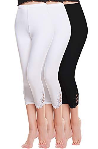 Vertvie damen 3/4 Länge Leggings mit Spitzenabschluß Hollow mit strass casual Modal Caprihose Strumphosen Stretch pants Einheitsgröße (One Size, 2 Weiß +1 Schwarz)