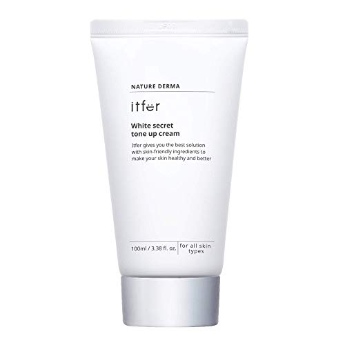 ITFER White Secret Tone Up Cream 3.38 fl oz, Lightly and Perfectly Moisturize Simultaneously, Instant Brightening with 5-layer Hyaluronic Acid and Ceramide NP, 5-peptide Complex, Skin Irritation Test Completed