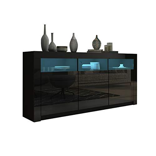 UNDRANDED Moderner Sideboard Schrank Kommode in Front Hochglanz 2 Türen 3 Schubladen Esszimmer Küche Buffet Schrank mit LED Streifen 160 x 72 x 35cm (Schwarz)