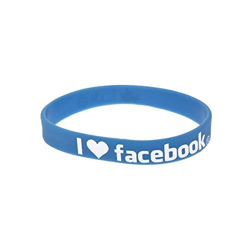 HSJ 5 Unids I Love Facebook Pulsera De Silicona Moda Coloración Ambiental Logo Pulsera Inspira Perfectamente Fitness, Baloncesto, Buscando Deportes, Ejercicio Y Tareas,Azul