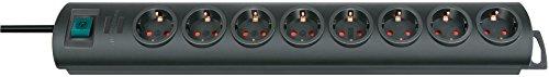 Brennenstuhl Primera-Line, Steckdosenleiste 8-fach (Steckerleiste mit Schalter und 2m Kabel, 90° Anordnung der Steckdosen) schwarz