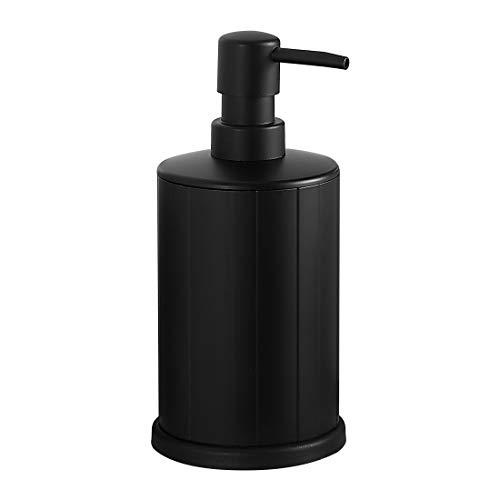 bgl Dispensador de jabón de mano, dispensador de jabón de aluminio independiente, botella de 499 ml, resistente al óxido para baño y cocina (negro+blanco)
