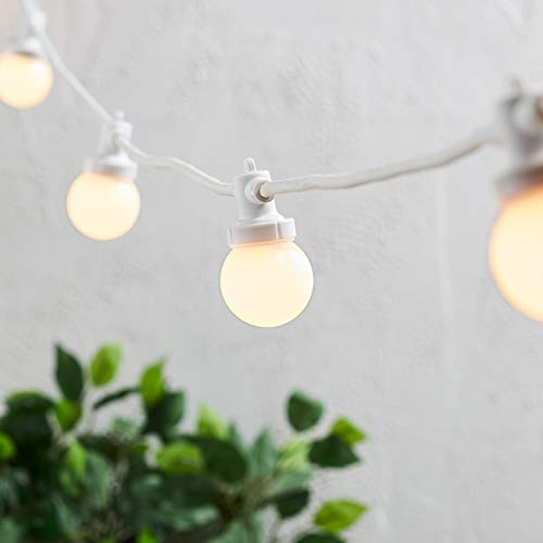 Lights4fun Pro Connect Outdoor Festoon Lights Warm White LED Opaque Cap White Cable 15m Plug in IP44