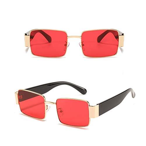 YWSZY Gafas de Sol, Gafas De Sol De Metal Cuadradas Gafas De Sol Anti-Reflectantes Gafas De Sol Gafas De Sol UV400 (Lenses Color : Red)