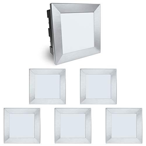 6 Stück SSC-LUXon® Wandeinbaustrahler LED Piko-LQ - quadratische Wandleuchte - IP65 Wasserschutz für Außen 230V 3,5W warmweiß