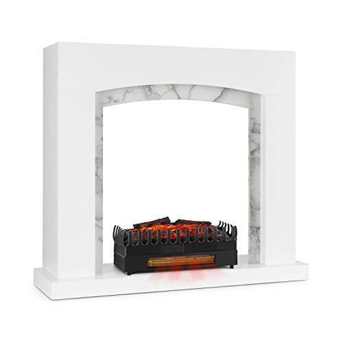 Klarstein Studio Frame II Kamingehäuse-Set Dekokamin + Kamini FX Kamineinsatz, klassisches Design, MDF, Wandverschraubung, 93,5 x 87,5 x 30 cm, Kamin-Einsatz: 1000/2000W, weiß
