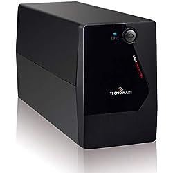 Tecnoware UPS ERA PLUS 750 Gruppo di Continuità, Potenza 750 VA, Autonomia Fino a 10 Min con 1 PC o 40 min con Modem Router, Stabilizzazione AVR, Nero