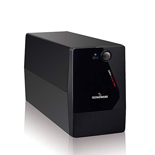 Tecnoware USV ERA PLUS 750 Unterbrechungsfreie Stromversorgung - 2 Schuko-Ausgänge - Autonomie bis zu 10 min mit 1 PC oder 40 min mit Modem Router - Leistung 750 VA
