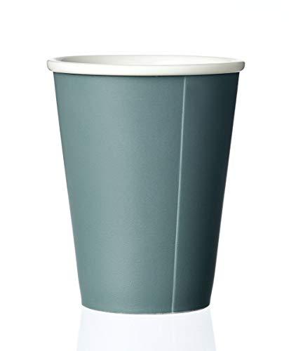 VIVA scandinavia Kaffeebecher Porzellan mit Matt Finishing ohne Henkel, Große Kaffeetasse, Design Teetasse Grün 0,30L