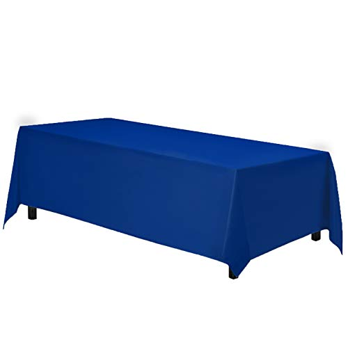 "Gee Di Moda Rectangle Tablecloth - 90 x 132"" Inch - Royal Blue Rectangular Table Cloth for 6 Foot Table in Washable Polyester - Great for Buffet Table, Parties, Holiday Dinner, Wedding & More"