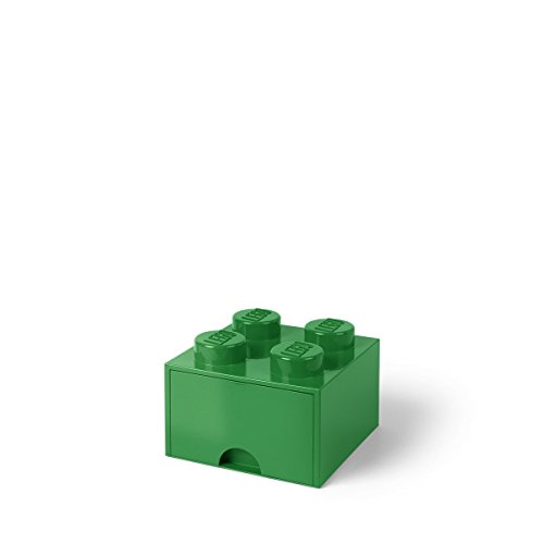 LEGO Brick with 1 Drawer With 4 Knobs, in Dark Green
