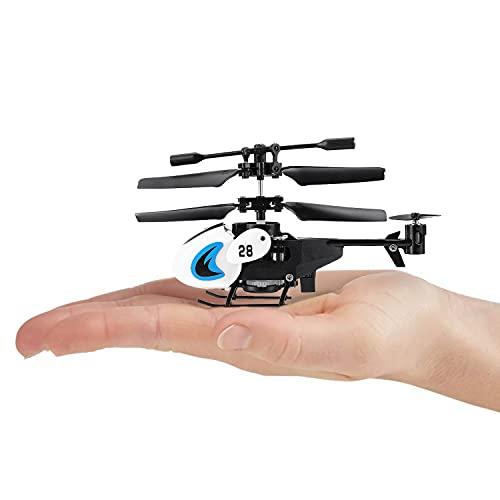 DWI RC Mini Hubschrauber für Einsteiger inkl. Fernbedienung ab Kinder Jahren, Spielzeug Helikopter ferngesteuert als Geschenk, Indoor Helicopter mit LED (Weiß)