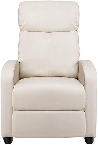 Estilo moderno, con asiento blando respaldo ajustable, un sofá tapizado de cuero ocasional sillón de la sala de estar,White