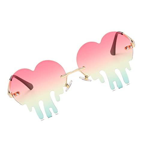 Harilla Lovely Heart Gafas de Sol Sin Montura, Moda para Regalo de Mujer, Anteojos, Playa, Exterior, UV400 Shopping Vintage Cat Eye