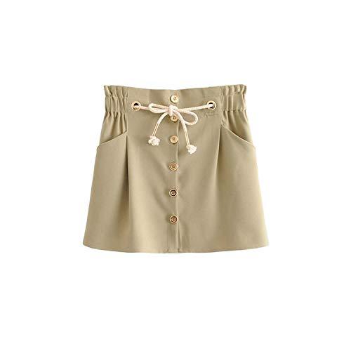 Mujeres Falda Bolsillos Botones Cintura Elástica Cordón Lazo Mujer Casual Chic Mini Faldas