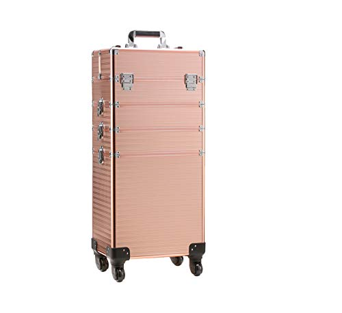 Rolling Train Case 4-in-1 Portable Makeup Train Case Professional Cosmetic Organizer Makeup Traveling case Trolley Cart Trunk with DIY Adjustable Divider (Gold silver)
