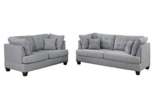 Bobkona 2-Pcs Sofa & Loveseat Grey
