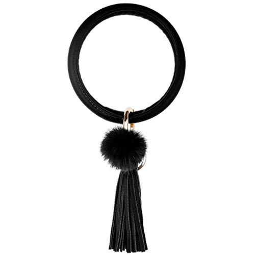 LZHLMCL Bag Keyrings Keychains Bohemia Pu Leather Wristlet Keychain Pendant Large Circle Keyring Tassel Bracelet For Women Jewelry Black
