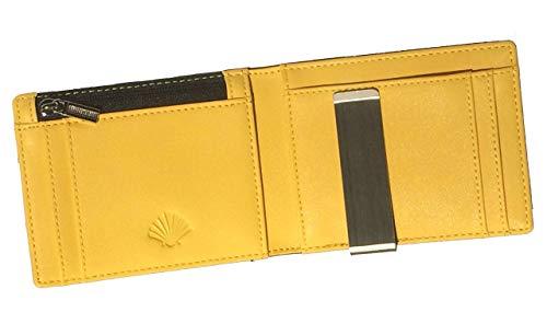 YellowWallet23 RFID Blocking - Cartera de Hombre Pequeña con Monedero Fina Horizontal Inteligente con Clip para Billetes Tarjetero Slim Tarjetas Billetero Utraslim Ultrafina - Negra y Amarilla
